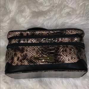Snake print travel makeup bag